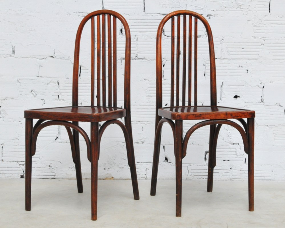 Chaises Bistrot Blanches Thonet Vintage Chairs, Art Deco Style, 1930