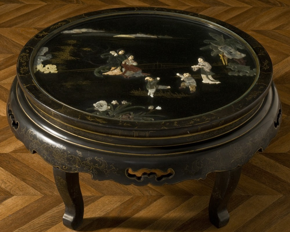 Decoration Salon Style Campagne Chinese Antique Jade Inlays Coffee Table, Jade In Relief