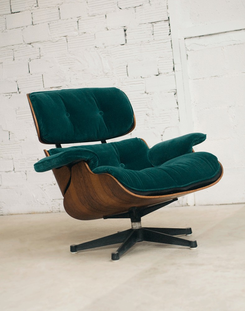 Fauteuils Lounge Charles Eames Lounge Chair Fauteuil Charles Eames Velours Vert