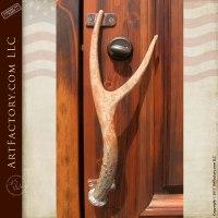 Custom Deer Antler Door Handle: Hand Forged Iron Door Pulls