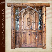 Rustic Log Cabin Door: Custom Solid Wood Entrance Doors