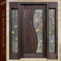 Tulip Stained Glass Door: Craftsman Entry Door With Sidelights