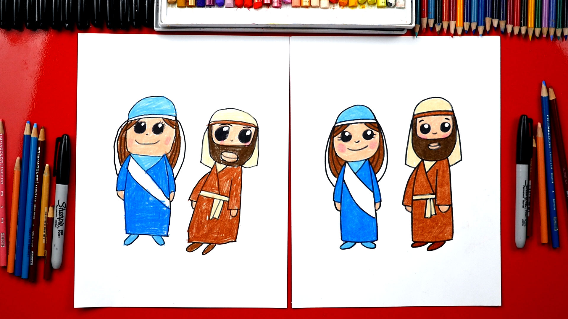 Joseph Und Joseph How To Draw Mary And Joseph Nativity Art For Kids Hub