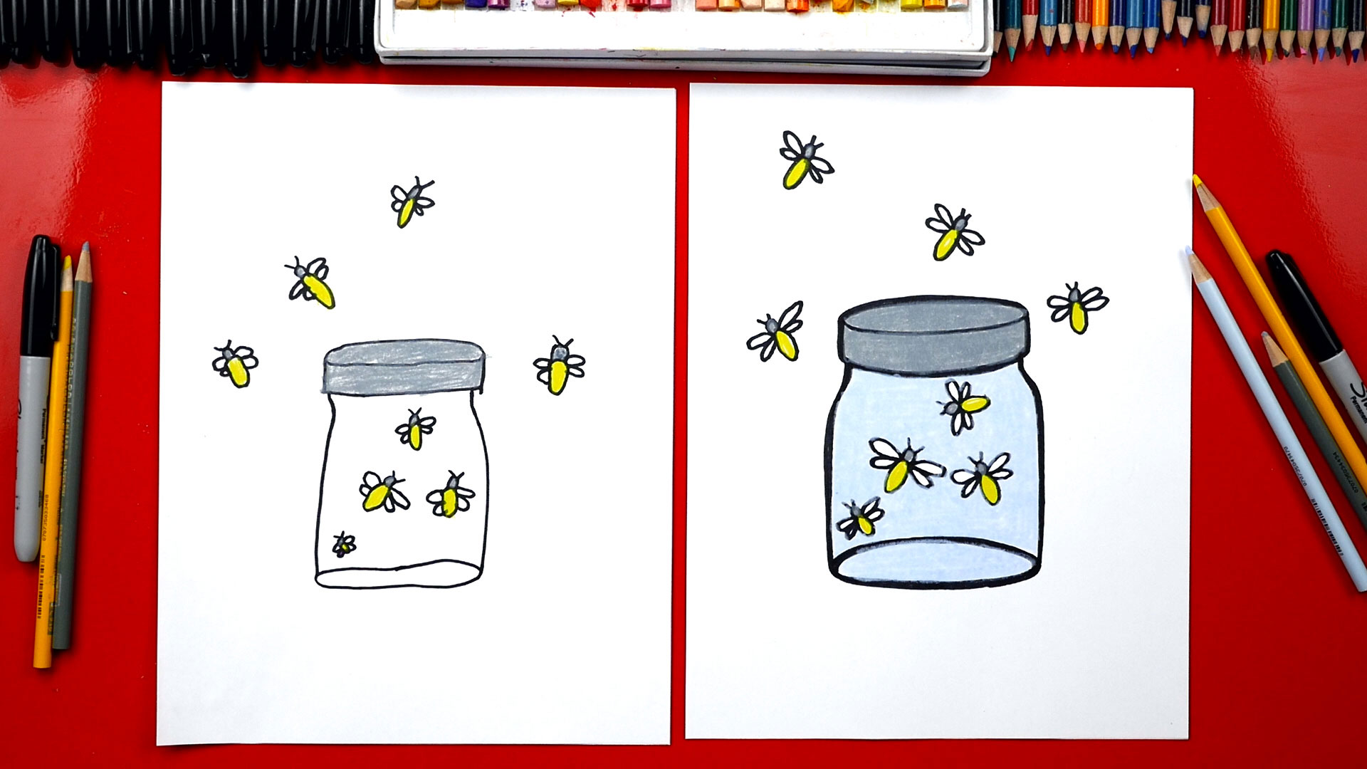 Firefly Jar Art How To Draw Fireflies In A Jar Art For Kids Hub