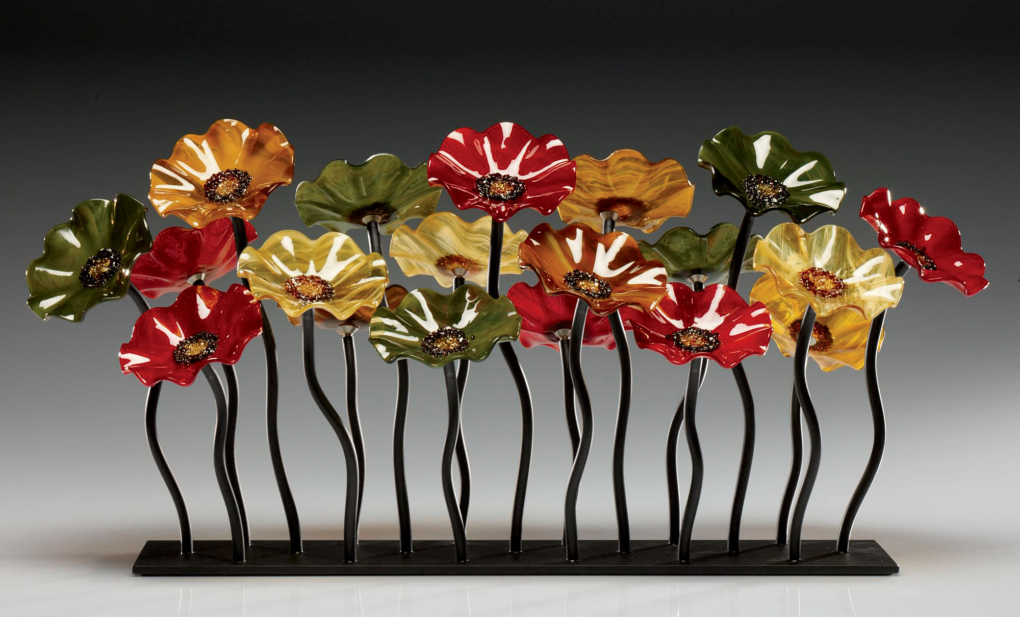 Rectangle Table Breckenridge Glass Flower Garden By Scott Johnson And