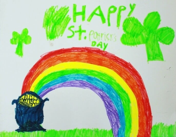 St Patricks Day Rainbow Drawing and Four Rainbow Scavenger Hunt Ideas!