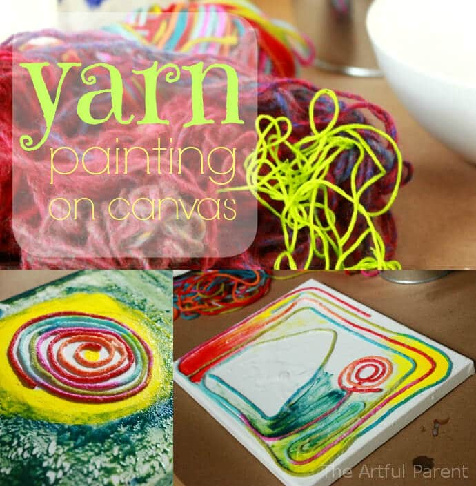 Yarn Painting on Canvas - A Fun Collage and Painting Project
