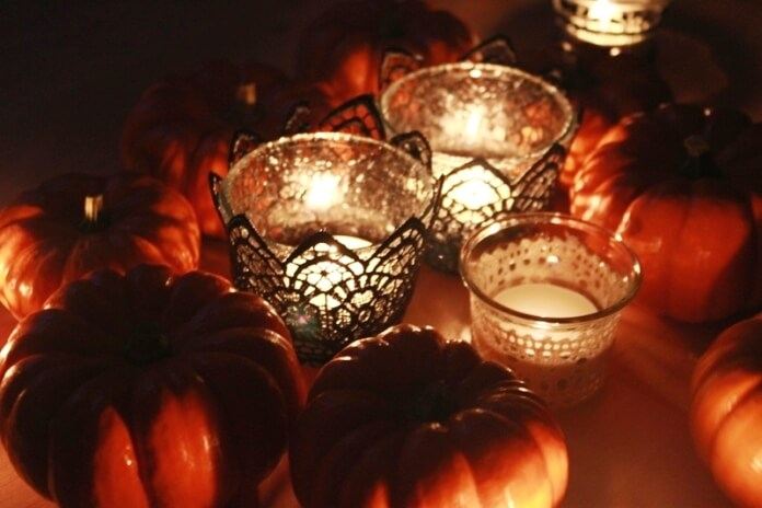 Pumpkins and Black Lace Candles 2