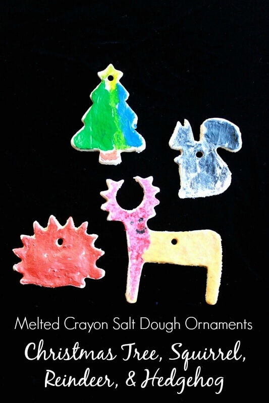 Melted Crayon Salt Dough Ornaments -- Tree, Squirrel, Reindeer, and Hedgehog