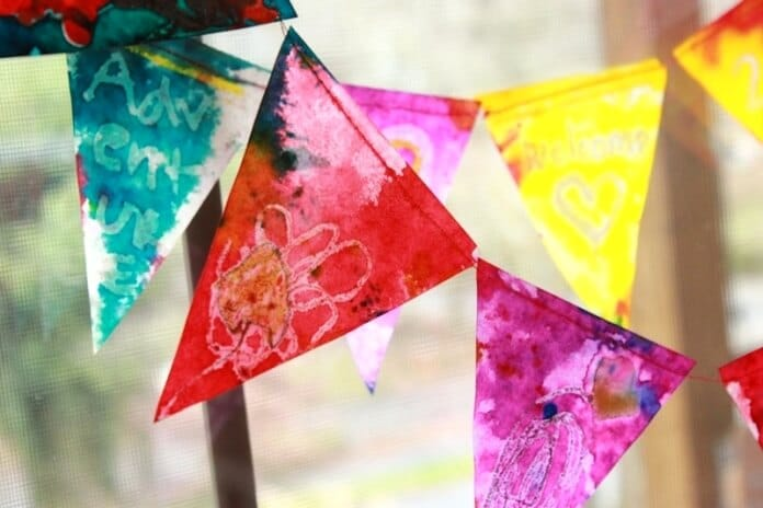 Melted crayon stained glass bunting 63