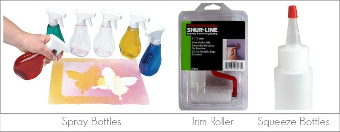 Kids Art Tools -- for Transfering Paint to Paper, including spray bottles, squeeze bottles, and paint roller