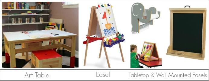 Kids Art Furniture, including an art table, art easel, and tabletop easel