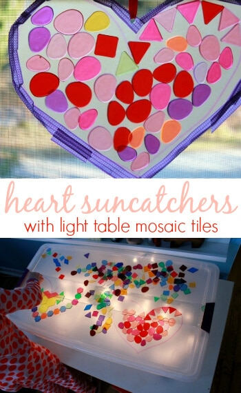 Make Heart Suncatchers with Light Table Mosaic Tiles -- A fun Valentine's Day activity for kids!