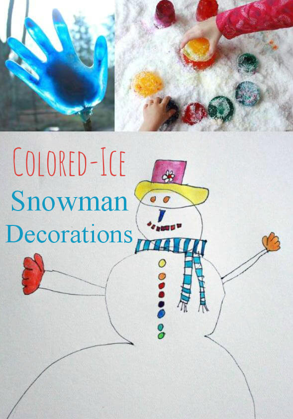 Colored Ice Snowman Decorations from The Artful Winter eBook by The Artful Parent