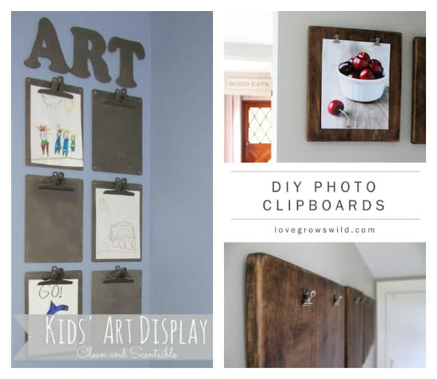 Clipboards for kids art - 21 Ways to Display Kids Artwork