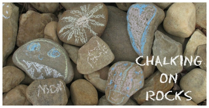 Kids Art with Rocks - Chalking on Rocks