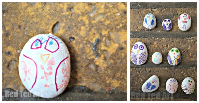 Kids Art with Rocks - Stone Owls