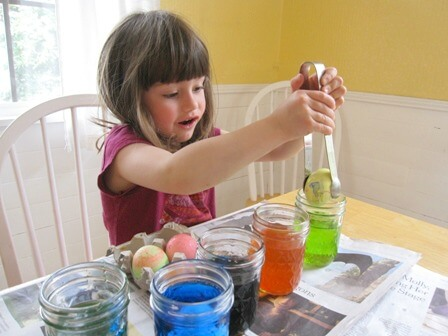 Dyeing Melted Crayon Easter Eggs