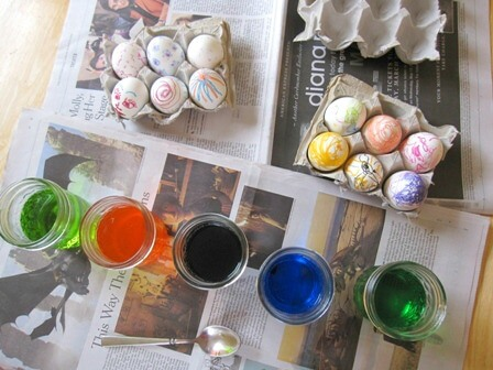 Getting Ready to Dye Melted Crayon Easter Eggs