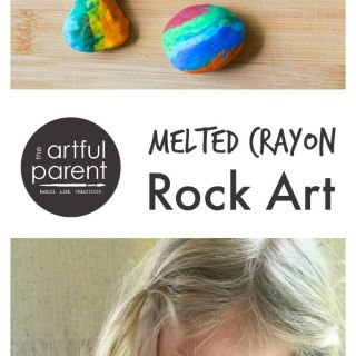 Melted Crayon Rock Art as Gifts