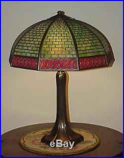Antique Vintage Arts & Crafts Handel Leaded Slag Glass