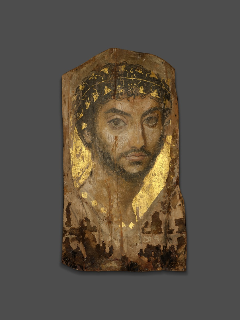 Pittura Romana Fayum Mummy Portrait Of A Man Wearing An Ivy Wreath The Art Institute