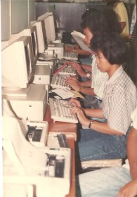 Lulu testing the PCs in the computer lab