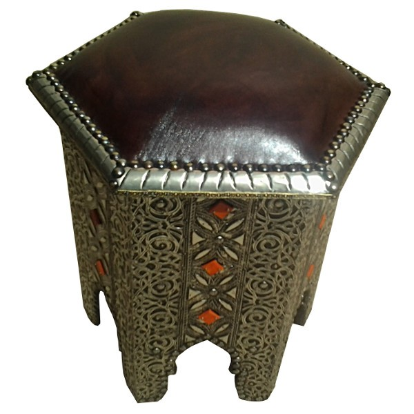 Living Meuble Salon Embossing Metal & Leather Stool, Moroccan Handicraft Of