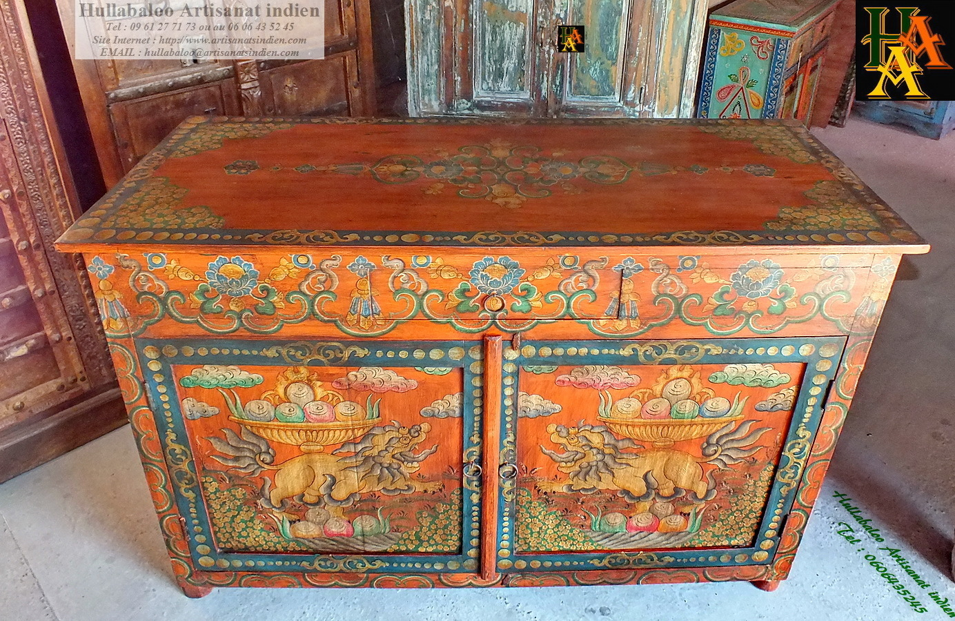 Meuble Tibetain Buffet Peint Style Tibétain Jn7 La205 Meubles Indiens