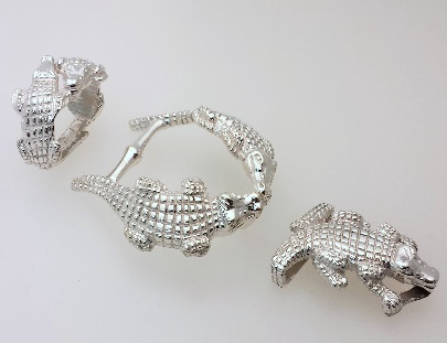 Gator buckle series Bright Rhodium