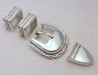 """Men's buckle plated with """"Bright Rhodium""""."""