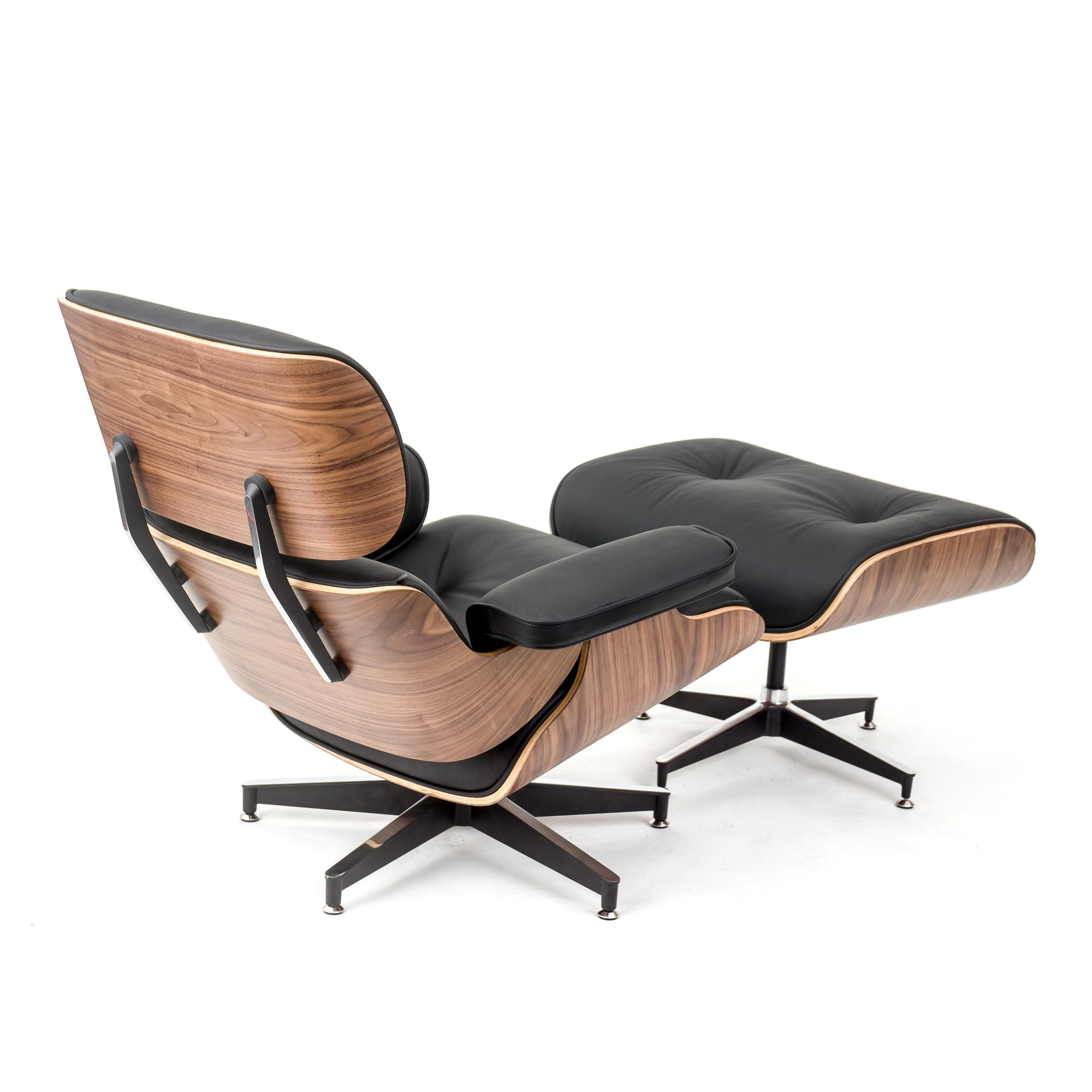 Lounge Chairs Rosewood Lounge Chair And Ottoman Black Leather Replica