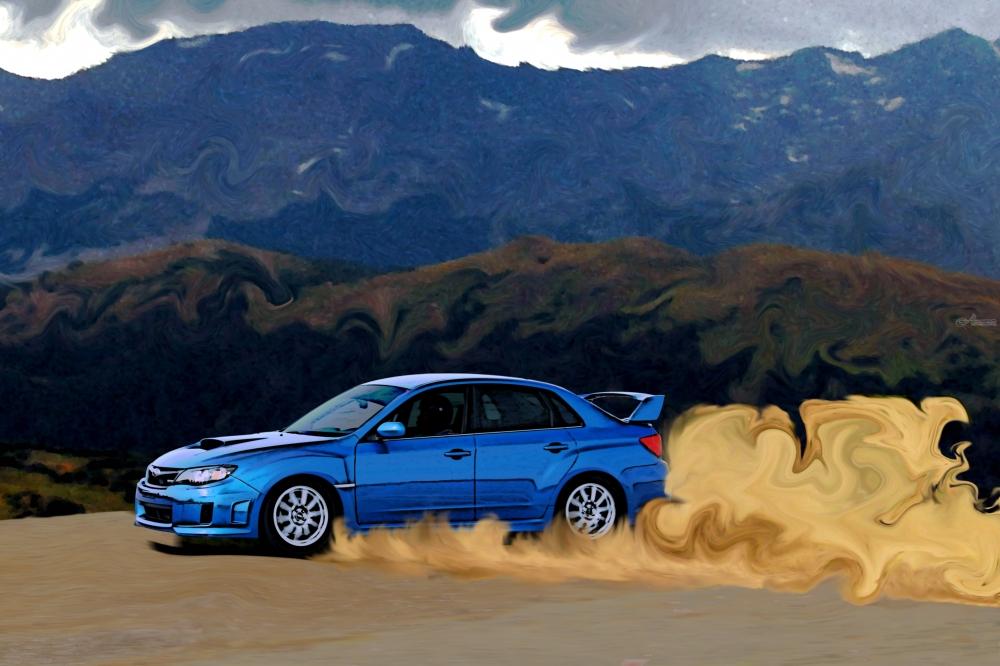 Car Wallpaper For Computer Put On Now Blue Subaru Wrx Sti Drifting In The Mountains Digital Art