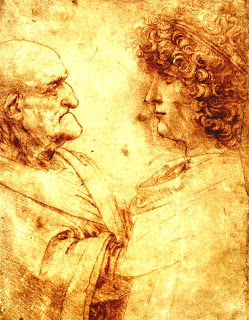 Heads of an Old Man and a Youth, Leonardo Da Vinci