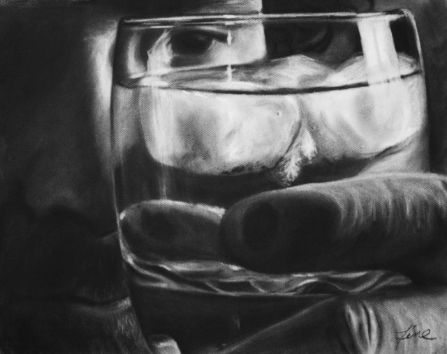 Drowning, Charcoal drawing by Terra Fine