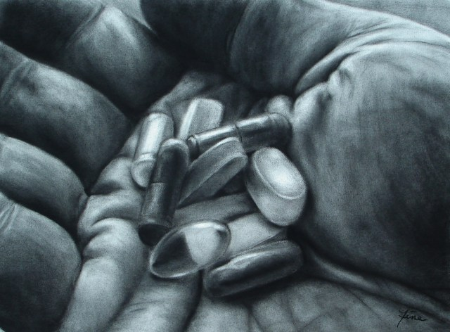 Mountain of Hope, charcoal drawing by Terra Fine