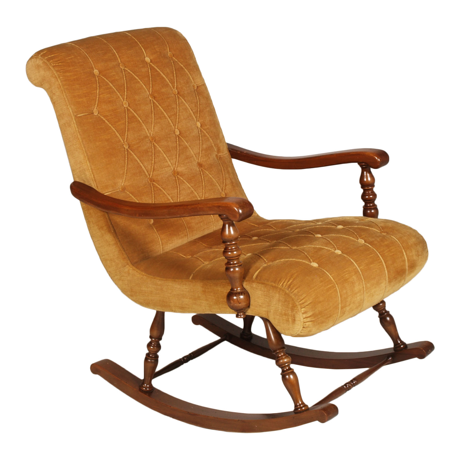 Sedia Dondolo In Francese Dettagli Su Poltrona Sedia Dondolo Noce Tornito 1940s Victorian Turned Rocking Chair Ma S93