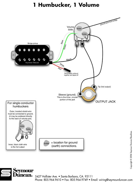humbucker 1 volume wiring diagram humbucker wiring diagram