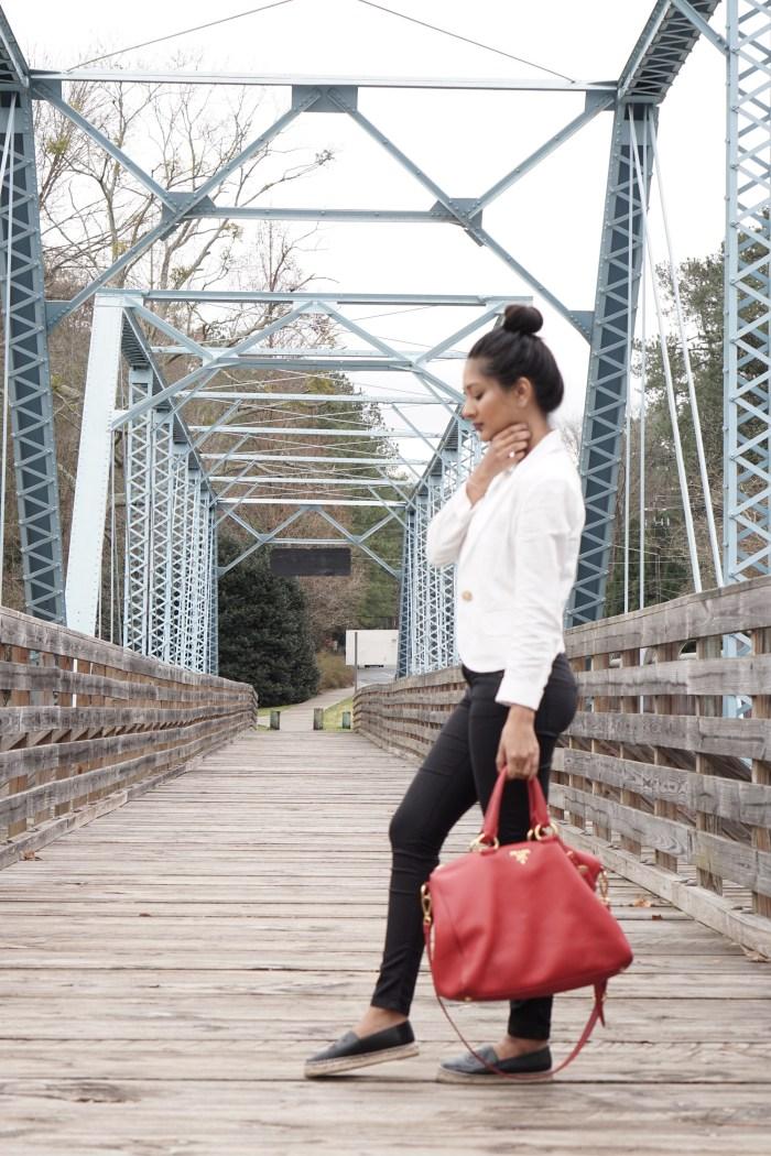 red prada handbag