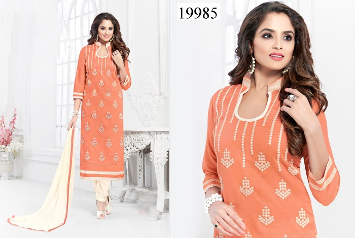 Orange Colored Cotton Suit Shaiza Cotton Dress Material 19985