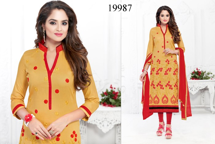 Yellow Colored Cotton Suit Shaiza Cotton Dress Material 19987