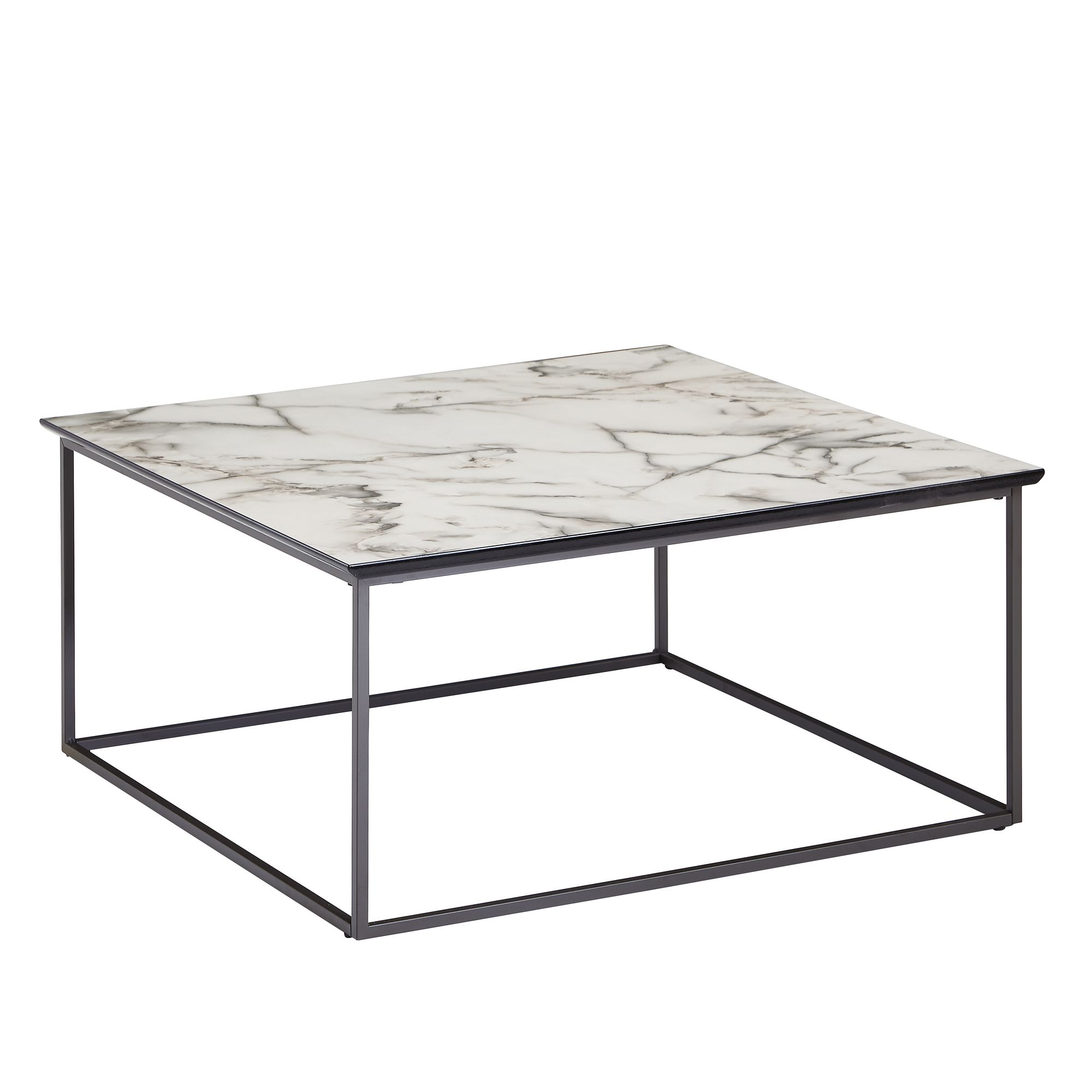 Wohnling Couchtisch Coffee Table Square 80x38x80 Cm With Marble Look White • Artkomfort