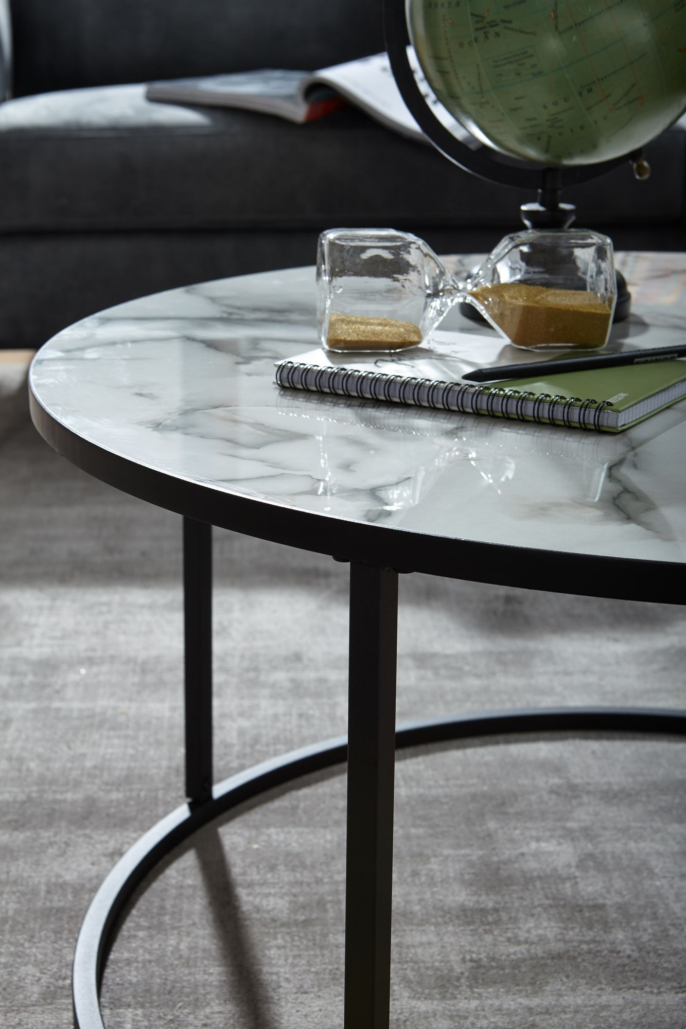 Coffee Table Round 80x40x80 Cm With Marble Look White Artkomfort