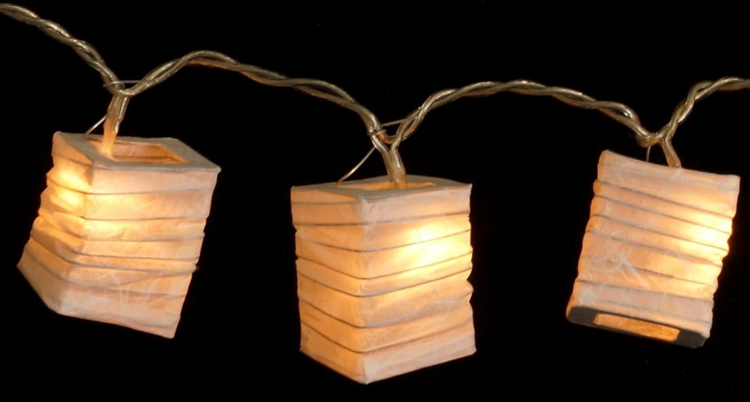 Outdoor Lichterkette Lampions Led Light Chain Lanterns Square Natural White