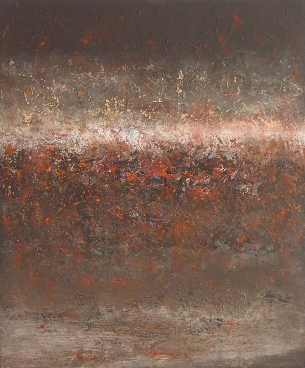 Tableau Moderne Vertical Brown Rust Texture Abstract Painting Pintura Por Corinne Gégot
