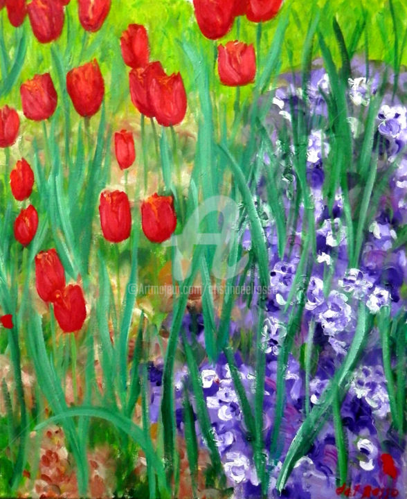 Pittura Viole Tulipanes Y Pensamientos Tulips And Pansies Pittura Da Cristina