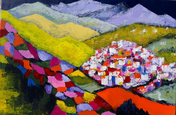 Bright Colours Painting Pueblo Blanco Archez Painting By Jill Carrott Artmajeur