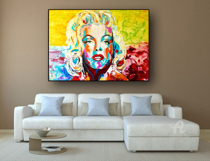 Interio Sofa Marilyn Marilyn Monroe Luminous Painting By Kathleen Artist Artmajeur