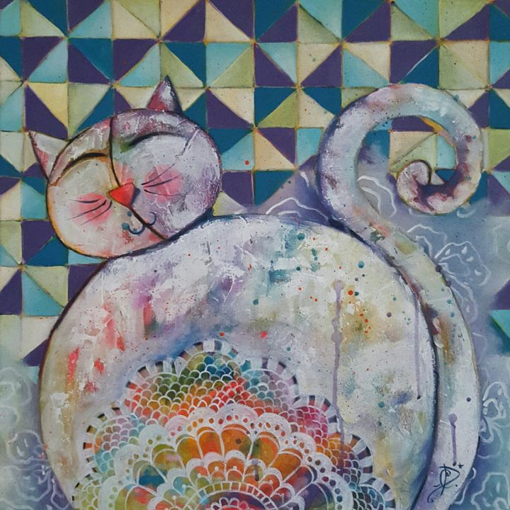 Tableau De Chat Moderne Quotdentelle Quot Carole Bettenfeld