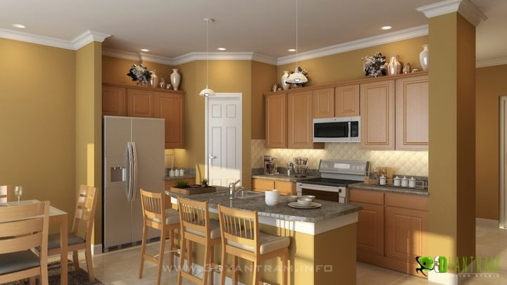 Commercial Kitchen 3d Design 3d Interior Modern Kitchen Rendering Digital Arts By Rachana Desai
